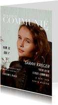 Communie uitnodiging magazine kaart met foto en teksten
