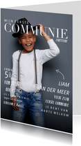 Communie uitnodiging magazine met foto en teksten jongen