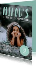 Communie uitnodiging magazine stijl met foto en teksten