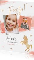 Communie uitnodiging meisje waterverf unicorn eenhoorn