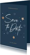 Communie uitnodiging stijlvol houten sterren save the date