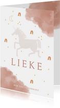Communie uitnodiging stijlvol met unicorn en regenboog