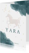 Communie uitnodiging stijlvol met unicorn maan en waterverf