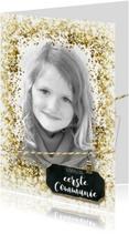 Communie vormsel lentefeest glitter kader label goud