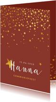Communiefeest uitnodiging meisje stijlvol goud sterren