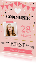 Communiekaart foto slinger confetti meisje