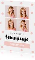 Communiekaart fotocollage confetti goud roze