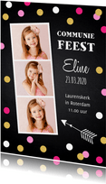Communiekaart fotocollage confetti krijtbord meisje