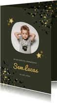 Communiekaart groen met foto, gouden sterren en spetters