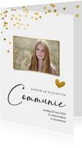 Communiekaart met gouden confetti stippen en eigen foto