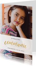 Communiekaart met grote foto en goudlook communie