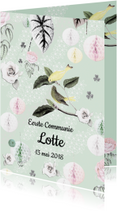 Communiekaarten - Communiekaart met lieve vogeltjes, bloemen en pompoms