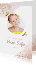 Communiekaart roze met foto, gouden hartjes en waterverf