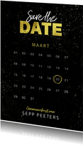 Communiekaart save the date jongen goud spetters