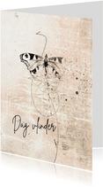 Condoleance kaart vlinder sketch roze