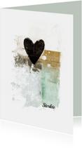 Condoleancekaart hart zwart abstract