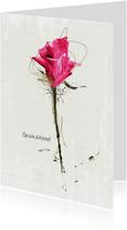 Condoleancekaart In Gedachten Roze Roos