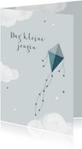 Condoleancekaart jongen kind baby vlieger wolken sterren