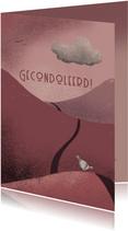 Condoleancekaart met duif en regenwolk in een berglandschap