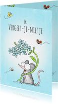 Condoleancekaart met muisje met blauwe vergeet-me-nietjes