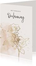Condoleancekaart met rozen in goud en waterverf
