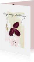 Condoleancekaart paars blad abstract