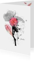 Condoleancekaart pink bloem blad