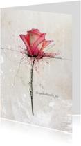 Condoleancekaart Roos Roze Gedachten