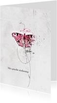 Condoleancekaart Roze Vlinder