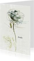 Condoleancekaart sterkte witte roos