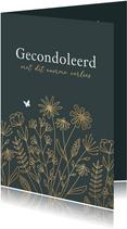 Condoleancekaart stijlvol bloemen goud vlinder herinneringen