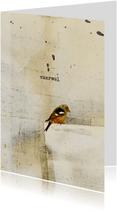 Condoleancekaart vogel op papier