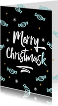 Corona kerstkaart Merry Christmask mondkapjes