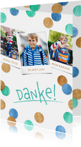 Dankeskarte Einschulung Fotocollage & Konfetti blau