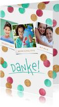 Dankeskarte Einschulung Fotocollage & Konfetti pink