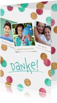 Dankeskarte Einschulung Konfetti & Fotocollage pink