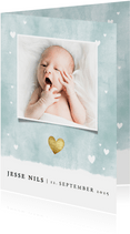 Dankeskarte Geburt blau Fotos Aquarell mit Herzchen