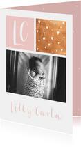 Dankeskarte Geburt Foto, Initialen rosa & Sterne