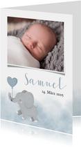 Dankeskarte Geburt Foto und Elefant blauer Luftballon
