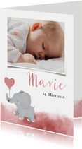 Dankeskarte Geburt Foto und Elefant rosa Luftballon