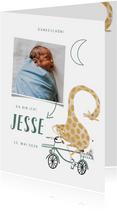 Dankeskarte Geburt Foto & Giraffe auf Fahrrad