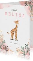 Dankeskarte Geburt Giraffe Wasserfarbe rosa Foto innen
