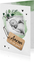 Dankeskarte Geburt mit Foto botanisch