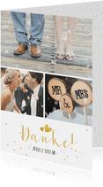 Dankeskarte Hochzeit mit 3 Fotos und goldener Schrift