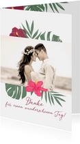 Dankeskarte Hochzeit mit Hibiskus