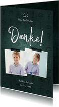 Dankeskarte Konfirmation Fotos & kleine Symbole dunkelgrün