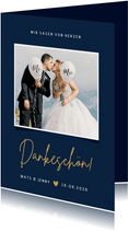 Dankeskarte mit Foto Hochzeit klassisch Dunkelblau