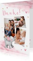 Dankeskarte Taufe Aquarell Fotos, Herzen und Elefant