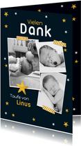 Dankeskarte Taufe Fotos und Sterne