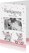 Dankeskarte Taufe kleine Schwester Elefanten und Herzen